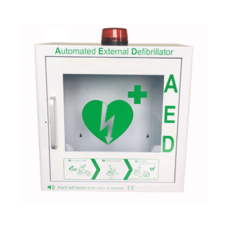 AED Cabinet Alarm. Indoor Metal AED cabinet. Defibrillator Box. AED Wall Mount Cabinet or with Totem. Bangkok First Aid Thailand