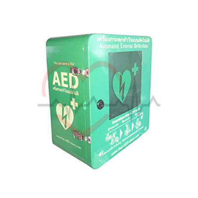 Outdoor AED Cabinet Dustproof Waterproof Alarm Keylocked. AED Wall Mountable Cabinet. AED Box. Bangkok First Aid Thailand,