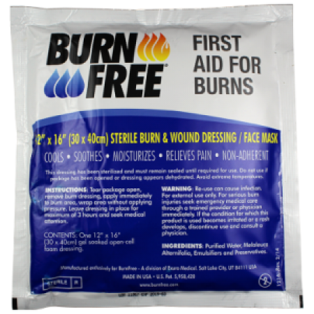 "BurnFree - Sterile Burn & Wound Dressing / Face Mask 12"" x 16"""