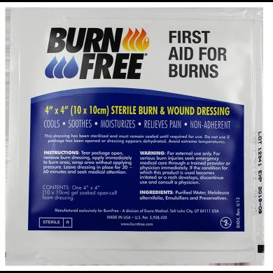 "Burn Free - Sterile Burn & Wound Dressing 4"" x 4"""